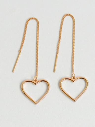 Simple Hollow Heart Silver Line Earrings