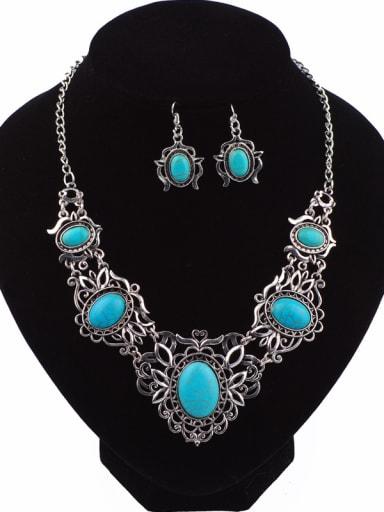 Retro style Turquoise Stones Alloy Two Pieces Jewelry Set