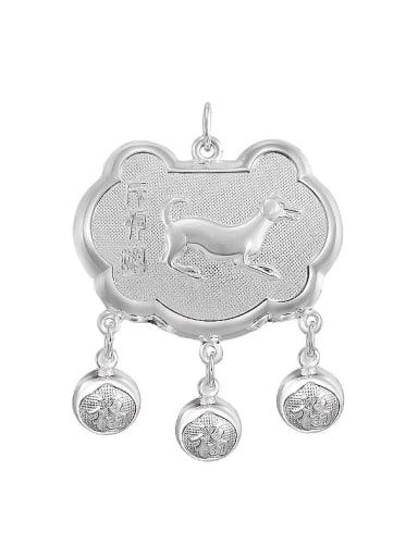 Ethnic style 999 Silver Zodiac Dog Children Bells Longevity Lock Pendant