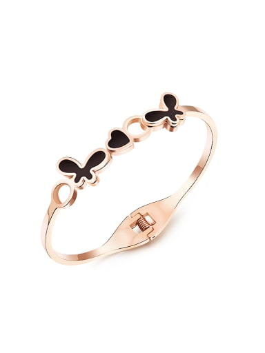 Fashion Black Butterflies Heart Rose Gold Plated Bangle