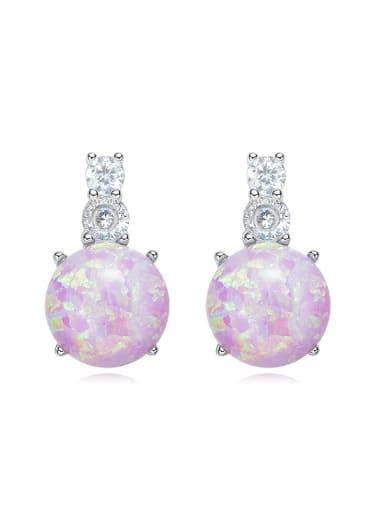 Tiny Opal stone Cubic Zircon 925 Silver Stud Earrings