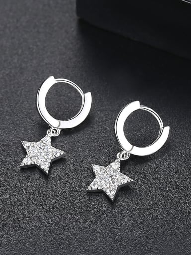 Copper With White Gold Plated Fashion Star Party Drop Earrings
