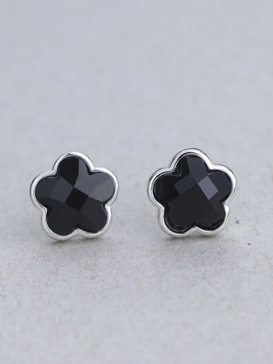 Black Flower Shaped Carnelian stud Earring