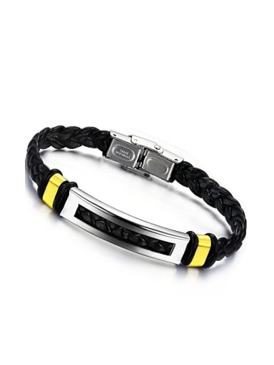 Fashion Black Woven PU Chain Titanium Bracelet