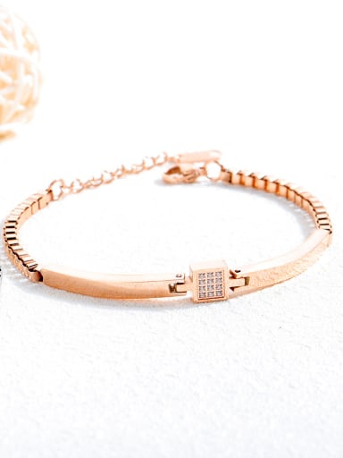 Stainless Steel With Rose Gold Plated Simplistic Geometric Bracelets