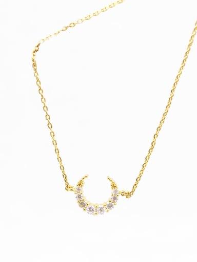 Women Elegant Moon Shaped Zircon Necklace