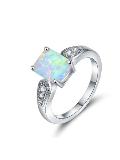 Rectangle Opal Zircons Women Fashion Classical Ring