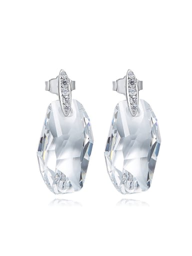 Simple Clear Swarovski Crystal 925 Silver Stud Earrings