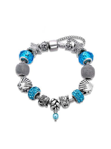 Women Blue Rhinestones Geometric Shaped Bracelet