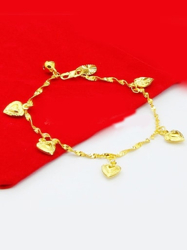 Children 24K Gold Plated Heart Shaped Copper Bracelet
