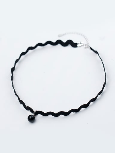 Elegant Black Wave Shaped Artificial Pearl S925 Silver Necklace