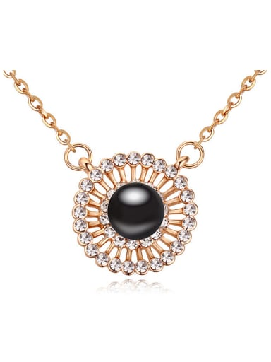 Fashion Imitation Pearl Cubic Crystals Round Pendant Alloy Necklace