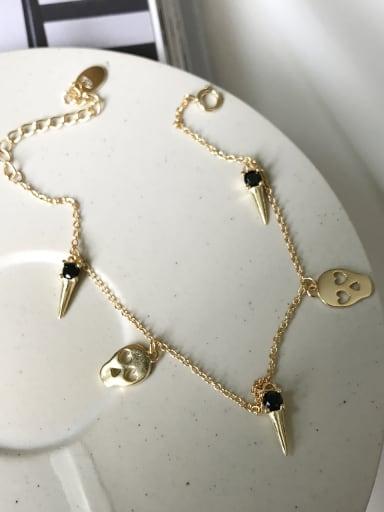 Sterling Silver Black zircon Skull Gold Bracelet