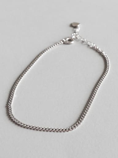 925 Sterling Silver With Platinum Plated Simplistic Thin chain Anklets