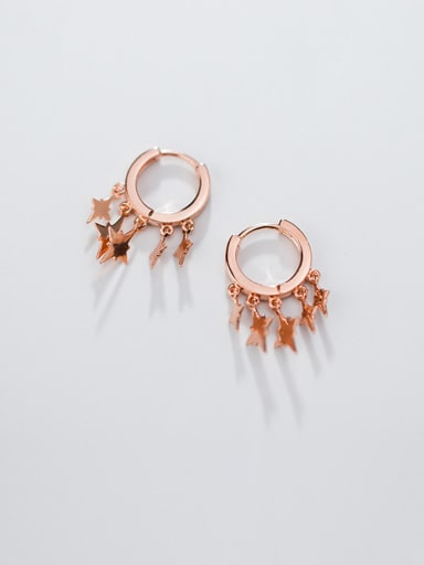 925 Sterling Silver With Gold Plated Cute Star Clip On Earrings