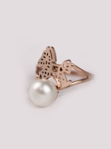 Shell Pearl Butterfly Fashion Ring