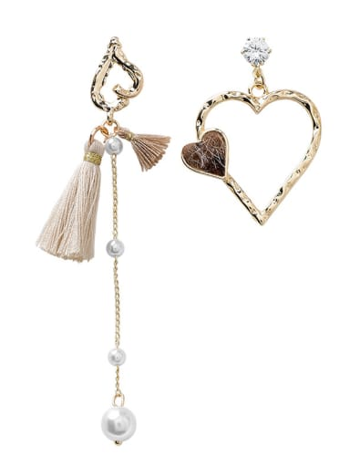 Alloy With Gold Plated Fashion Asymmetric Heart Tassel  Earrings
