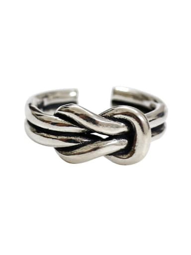 Retro style Two-band Knot Silver Opening Ring
