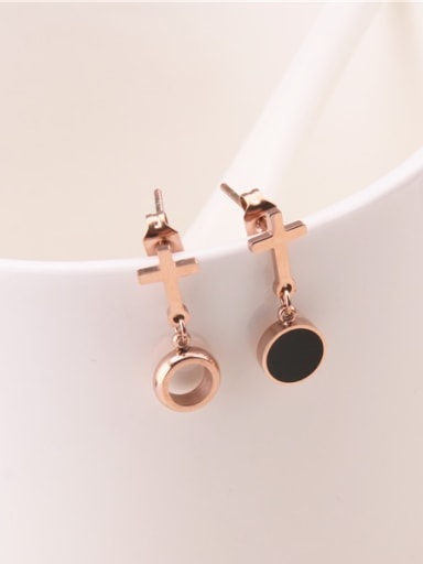 Fashion Exaggerated Black Circle Cross Drop Earrings