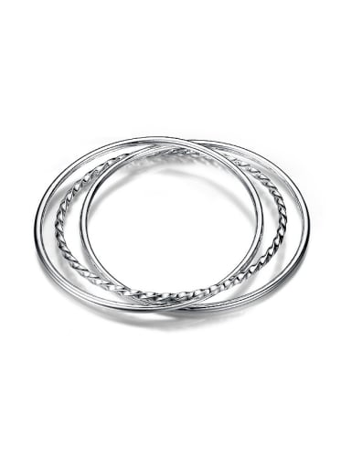 999 Silver Three-in-one Simple Polishing Bangles