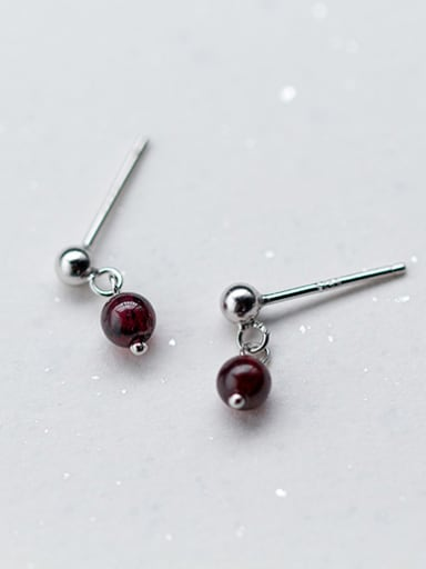 Elegant Round Shaped Stone S925 Silver Drop Earrings