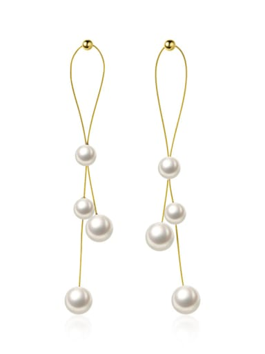 925 Sterling Silver With Gold Plated Personality Round Drop Earrings