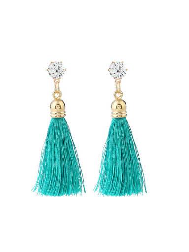 Trendy Geometric Shaped Tassel Stud Earrings