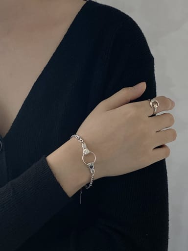 925 Sterling Silver With Platinum Plated Personality Chain Bracelets