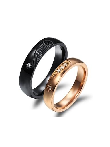 Fashion Combined Heart shape Rhinestones Titanium Lovers Ring