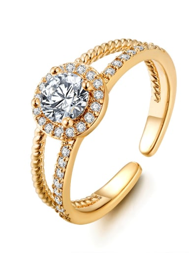 Fashion double layer micro-inlaid zircon free size ring