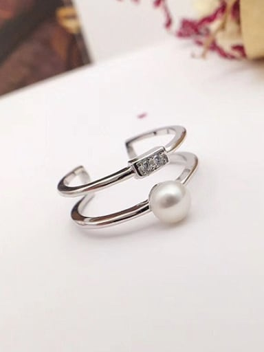 Freshwater Pearl Double-brand Stacking Ring
