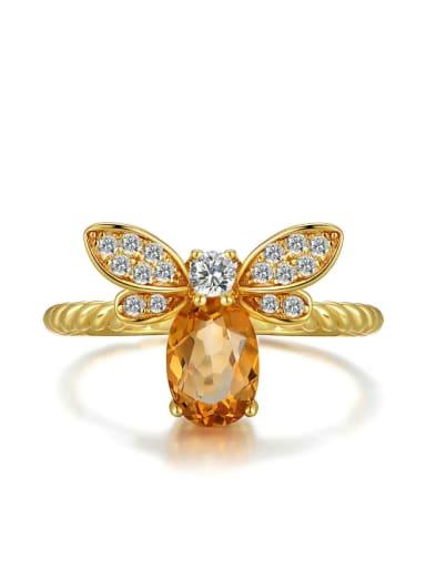 Natural Yellow Crystal Small Honeybee Ring