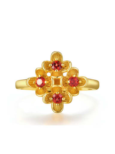 Flower-shape Retro Style Gold Plated Silver Ring