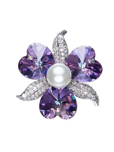 Heart-shaped Pearl Brooch