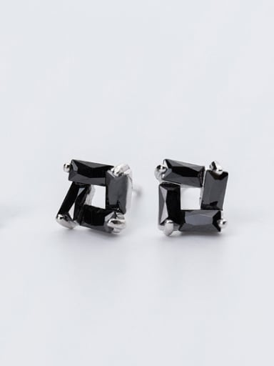 Couples Hollow Square Shaped Crystals Stud Earrings