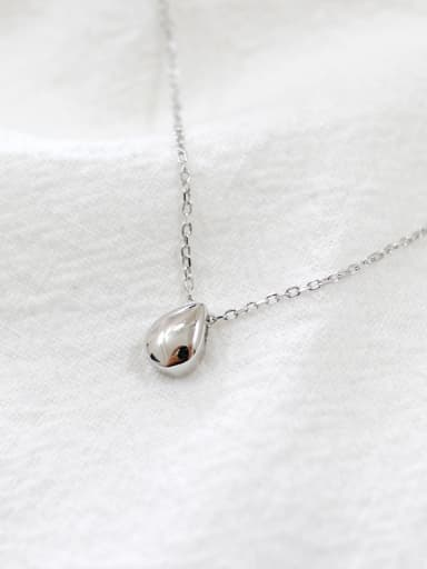 Simple Little Water Drop Pendant Smooth Silver Necklace