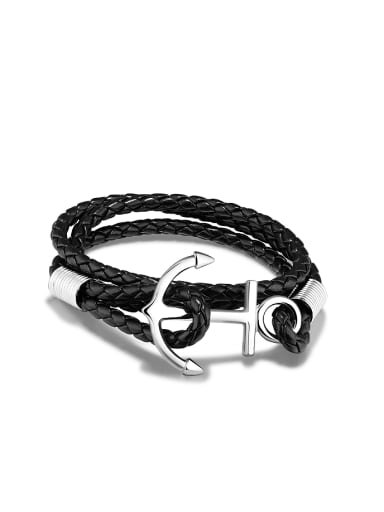 Fashion Ship Anchor Multi-band Artificial Leather Bracelet