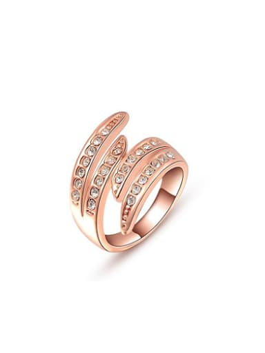 Rose Gold Plated Geometric Shaped Crystal Ring