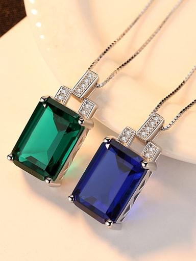 Sterling Silver Green Blue Pendant Natural Gemstone Necklace
