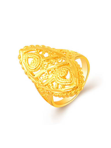 Exaggerated 24K Gold Plated Oval Shaped Copper Ring