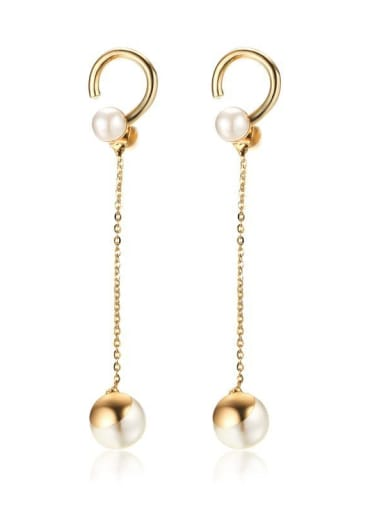 Stainless Steel With  Imitation Pearl Drop Earrings