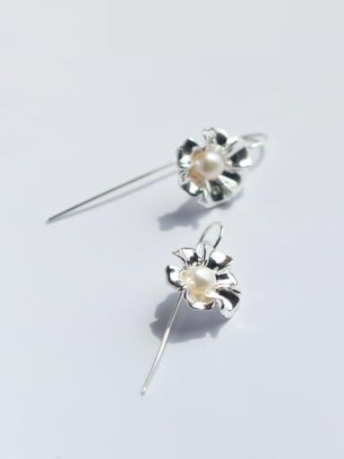 Fresh Flower Shaped Artificial Pearl S925 Silver Drop Earrings
