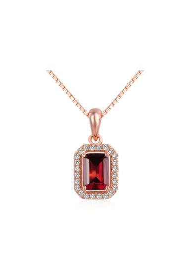 Natural Square-shape Red Garnet Zircons Pendant