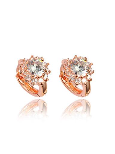 All-match Rose Gold Plated Flower Zircon Stud Earrings