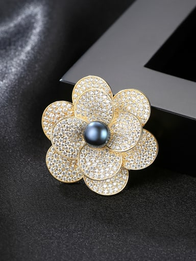 Sterling Silver high-end exquisite 8-8.5mm natural pearl flower brooch