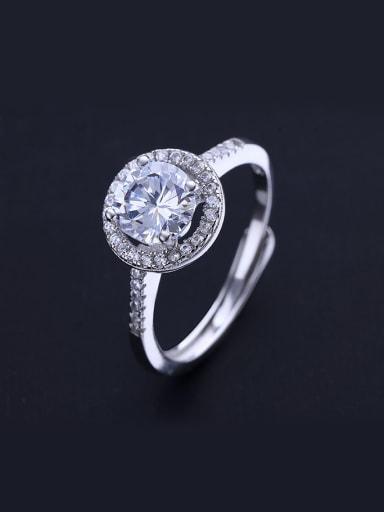 Round Shaped Zircon Open Design Ring