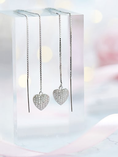 S925  Silver Heart-shaped threader earring