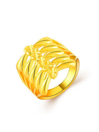 Women Personality Bowknot Shaped Gold Plated Ring