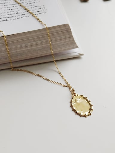 Sterling silver gold oval  toothed necklace