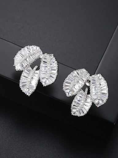 Copper With 3A cubic zirconia Delicate Leaf Stud Earrings